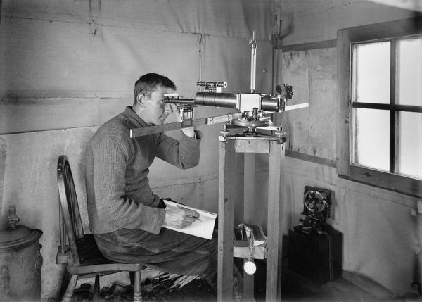 dr simpson at work in the magnetic hut at winterquarters