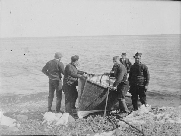 launching the boat at franklin island