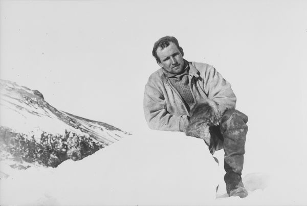 raymond priestley leaning on a lump of ice