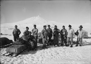 Capt Scott and the Southern Party. Mount Erebus in background. January 26th 1911