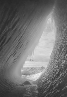 The Cavern in the iceberg without figures. Terra Nova in distance. January 8th 1911.