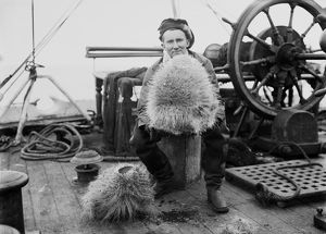 Dennis Lillie with a glass sponge on deck of the ship Terra Nova