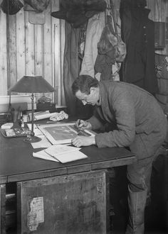 Dr Edward Wilson working up a sketch. May 18th 1911