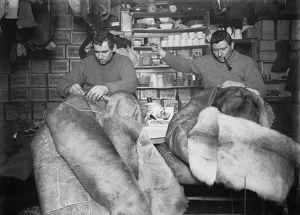 Petty Officer Edgar Evans and Tom Crean mending sleeping bags. May 16th 1911