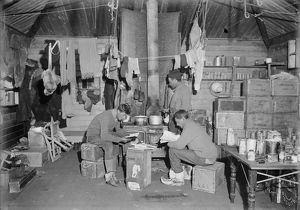 Edward Nelson, Bernard Day and William Lashly in Ernest Shackleton's hut. February 17th 1911
