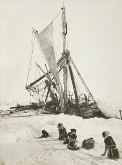 Endurance crushed by the ice and sinking