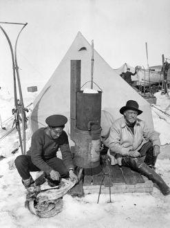 Ernest Shackleton and Frank Hurley at Patience Camp