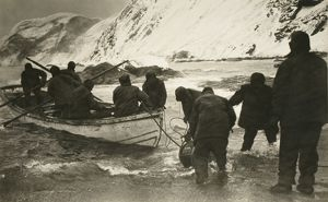 Ernest Shackleton going out to board the relief boat