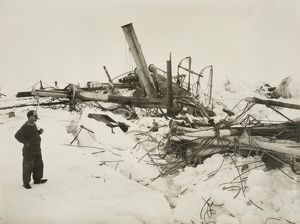 "Frank Wild examining the wreckage of the ""Endurance"""