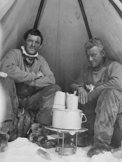 Frederick Hooper and George Abbott cooking in tent