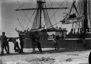 Getting the ill-fated motor-sledge off the ship. January 8th 1911