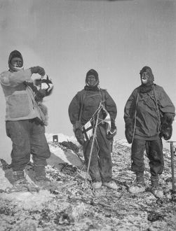Gran, Abbott and Hooper at summit of Erebus, December 1912