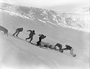 Hauling sledges up 'Bugbear bank' with block and tackle