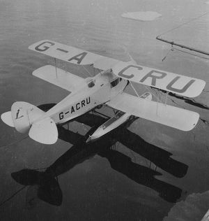 De Havilland Fox Moth biplane on floats