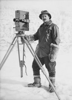 Herbert Ponting with his cinematograph. January 30th 1912