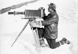 Herbert Ponting with his telephoto apparatus. January 30th 1912