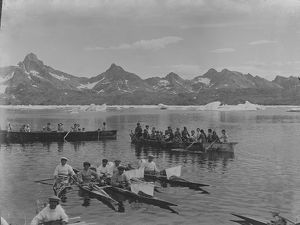 Inuit people, kayaks, umiaks in Angmagssalik area