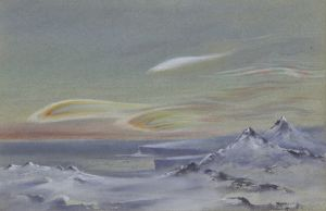 Iridescent clouds, looking north from the Ramp on Cape Evans, 9 August 1911