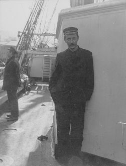John Donald Morrison, standing on deck of 'Morning'