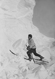 Lt Tryggve Gran skiing on broken ice. October 1911