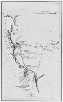 Map of Scott's and Amundsen's route to the South Pole