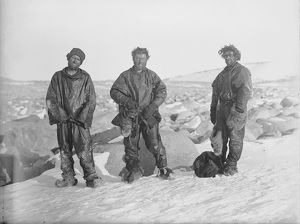 Northern Party after winter in snow cave, 1912 (Priestley, Levick, Browning)