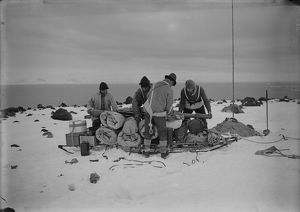 Packing a sledge at top of moraine for trip to Shackleton's hut. February 11th 1911