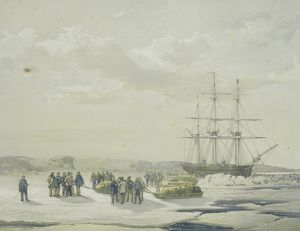 Sledge-party leaving HMS Investigator in Mercy Bay, under command of Lieutenant Gurney Cresswell