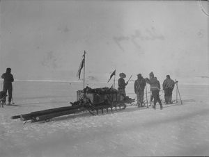 Sledging. Man-hauling a sledge on the ice