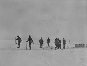 Sledging, eight men man-hauling a sledge