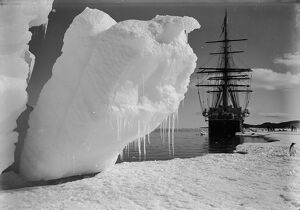The Terra Nova and a berg at ice-foot. January 16th 1911