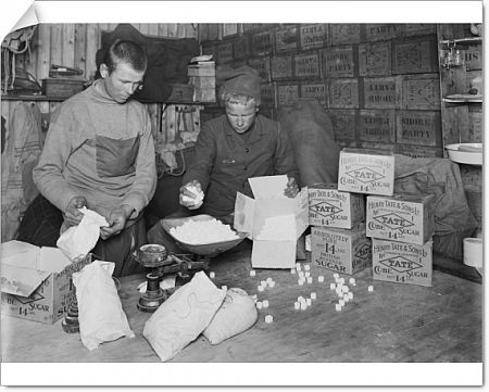 winterquarters hut packing sugar sledging rations