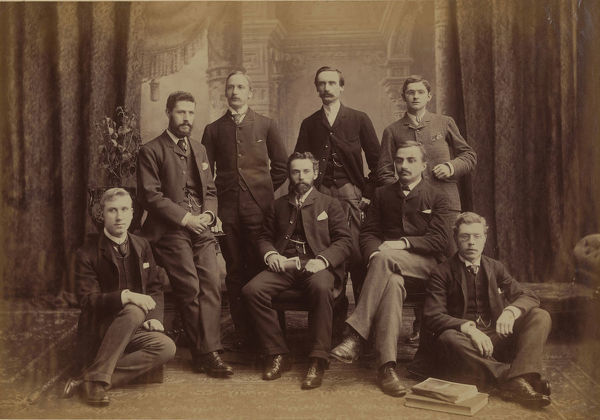 Photographer: unknown. Staff of the Challenger office at 32 Quin Street, Edinburgh, about 1886. The members of the staff, from left to right are: Thomas Dawson, James Chumley, T. Wemyss Fulton. Fred. G. Pearcey, John Gunn, Robert Henry McArthur, and James G