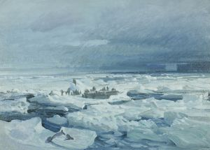 paintings drawings/artist george marston/camp breaking pack ice weddell sea 1915