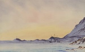 paintings drawings/artists edward wilson/discovery winter quarters mcmurdo sound