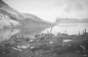 british graham land expedition 1934 37/leith harbour south georgia general view station