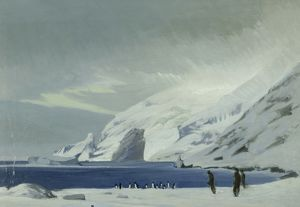 paintings drawings/artist george marston/looking east lookout point men penguins