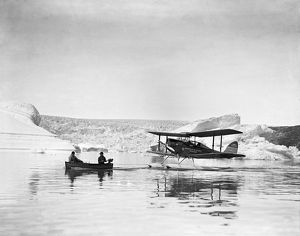 british arctic air route expedition 1930 31/towing moth outboard motorboat base
